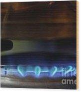 Pan On Lit Blue Gas Ring Wood Print