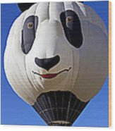 Panda Bear Hot Air Balloon Wood Print