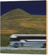 Panned View Of A Bus On Interstate 15 Wood Print