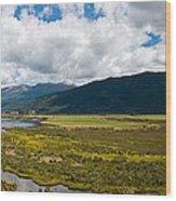 Panorama Of Waiau River Wetland South New Zealand Wood Print