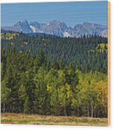 Panorama Scenic Autumn View Of The Colorado Indian Peaks Wood Print