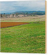 Panorama Valley Farm Wood Print