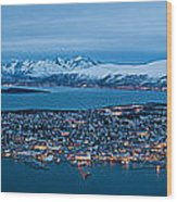 Panoramic View Of Tromso In Norway  Wood Print