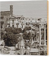 Panoramic View Via Sacra Rome Wood Print