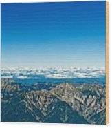Panoramic View Zugspitze German Austrian Boarder Wood Print