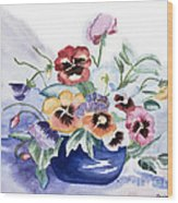 Pansies In Blue Pot Wood Print