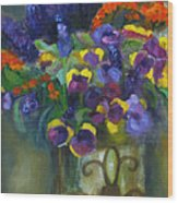 Pansies Wood Print by Susan Hanlon