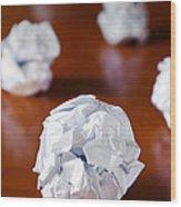 Paper Balls Wood Print by Carlos Caetano