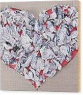 Paper Dump Heart Concept Wood Print