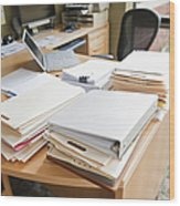 Paperwork On An Office Desk Wood Print by Jetta Productions, Inc
