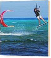 Para Surfing In Cozumel Mexico Wood Print