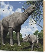 Paraceratherium, Artwork Wood Print