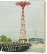 Parachute Jump At Coney Island, New York Wood Print