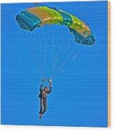 Parachuting Wood Print