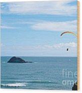 Paraglider On The Ocean Beach Wood Print