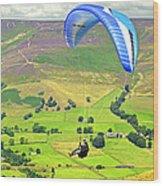 Paragliding Off Mam Tor 01 Wood Print