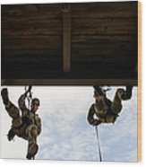 Pararescuemen Take Part In A Rappelling Wood Print