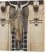 Paris Courtyard Musee Carnavalet Angel Statue - Victory Allegorical Angel Statue Wood Print