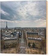 Paris And Eiffel Tower At Sunset Wood Print