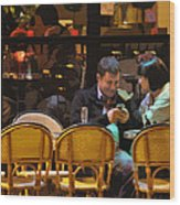 Paris At Night In The Cafe Wood Print