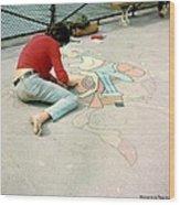 Paris Chalk Art 1964 Wood Print