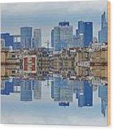 Paris La Defense And Trocadero Skyline Mirrored Wood Print