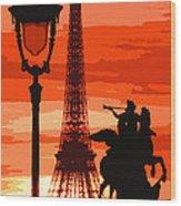 Paris Tour Eiffel Red Wood Print