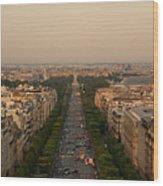 Paris View At Sunset Wood Print
