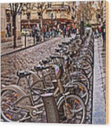 Paris Wheels For Rent Wood Print
