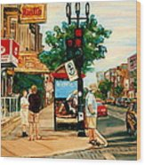 Park Avenue And Bernard Montreal City Scene Wood Print
