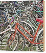Parking Bicycles In Mako Wood Print