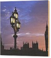 Parliament And Light At Sunset Wood Print