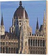 Parliament Buildings On River Danube Wood Print