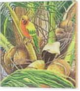 Parrot In Palm Wood Print