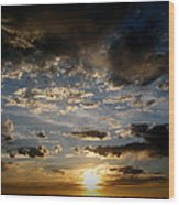 Partly Cloudy Skies At Sunset Wood Print