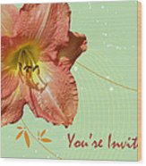 Party Invitation - Orange Day Lily Wood Print