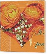 Party Invitation - Orange Roses Wood Print