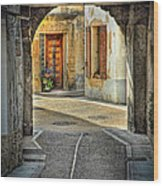 Passageway And Arch In Provence Wood Print