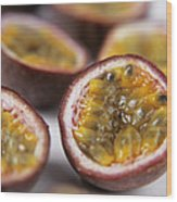 Passion Fruit Halves Wood Print by Veronique Leplat