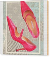 Passion Pink Strapped Pumps Wood Print