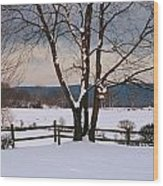 Pastoral View Of A Farm Covered In Snow Wood Print