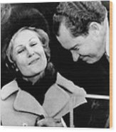 Pat Nixon Grasps Her Husbands Hand Wood Print by Everett