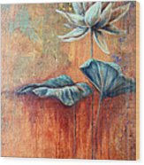 Patina Lotus Wood Print