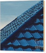 Pattern Of Blue Roof Tiles Wood Print