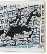 Paul Revere Galloping Statue Wood Print