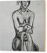 Paula - Charcoal Life Drawing Wood Print