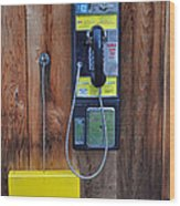 Pay Phone And Book Wooden And Yellow Wood Print