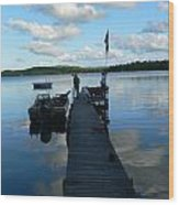 Peace On The Lake Dock Wood Print