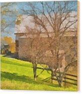Peaceful Farm In Autumn Wood Print