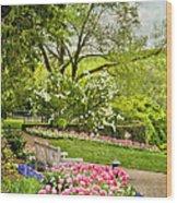 Peaceful Spring Park Wood Print by Cheryl Davis